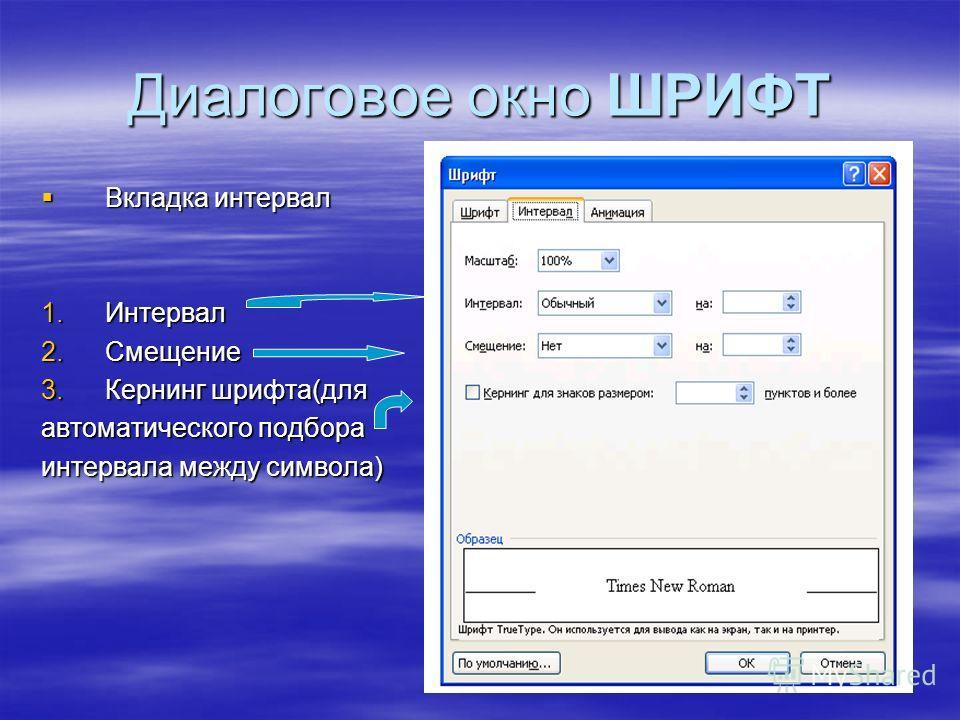 Диалоговое окно ШРИФТ Вкладка интервал Вкладка интервал 1.Интервал 2.Смещение 3.Кернинг шрифта(для автоматического подбора интервала между символа)
