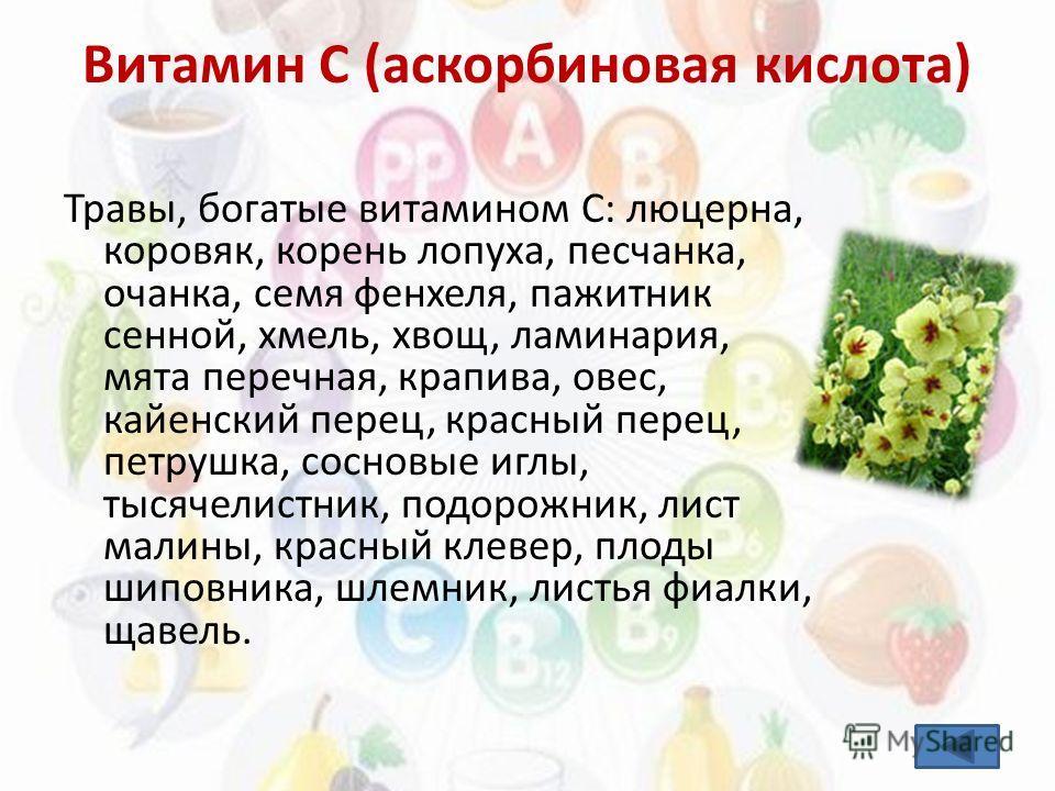 Травы, богатые витамином С: люцерна, коровяк, корень лопуха, песчанка, очанка, семя фенхеля, пажитник сенной, хмель, хвощ, ламинария, мята перечная, крапива, овес, кайенский перец, красный перец, петрушка, сосновые иглы, тысячелистник, подорожник, ли