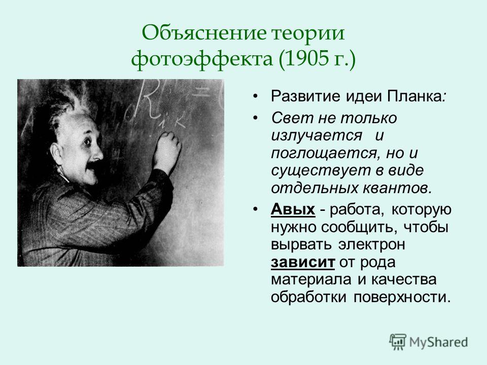 Объяснение теории фотоэффекта (1905 г.) Развитие идеи Планка: Свет не только излучается и поглощается, но и существует в виде отдельных квантов. Авых - работа, которую нужно сообщить, чтобы вырвать электрон зависит от рода материала и качества обрабо