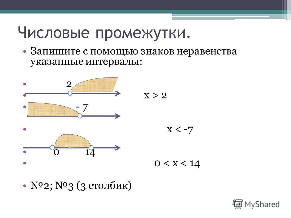 Числовые промежутки. Запишите с помощью знаков неравенства указанные интервалы: 2 х > 2 - 7 x < -7 0 14 0 < x < 14 2; 3 (3 столбик)