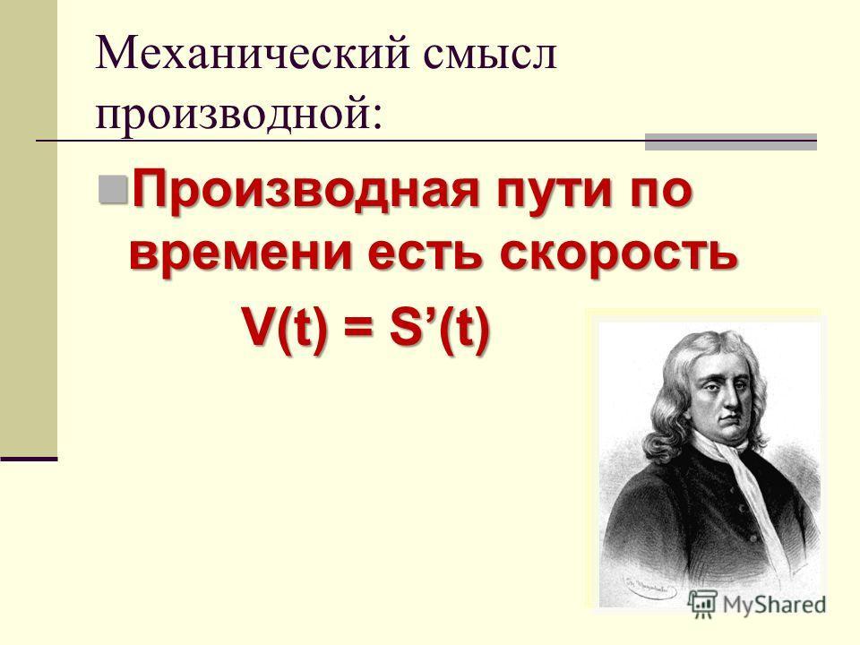 Механический смысл производной: Производная пути по времени есть скорость Производная пути по времени есть скорость V(t) = S(t) V(t) = S(t)