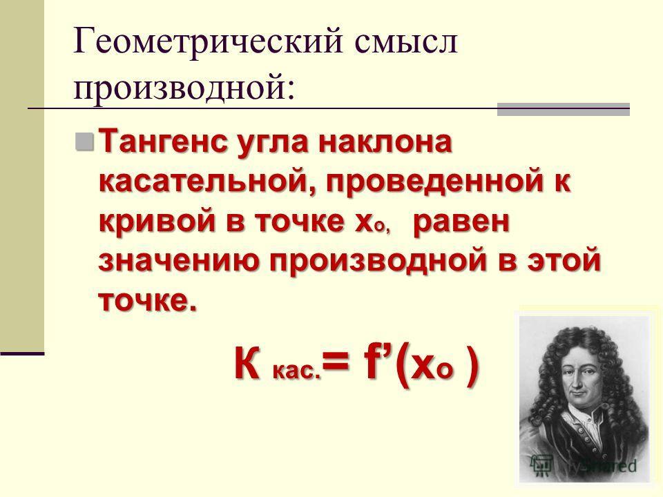 Геометрический смысл производной: Тангенс угла наклона касательной, проведенной к кривой в точке х о, равен значению производной в этой точке. Тангенс угла наклона касательной, проведенной к кривой в точке х о, равен значению производной в этой точке