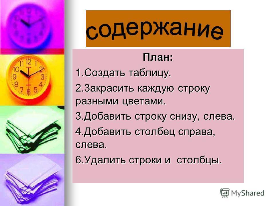План: 1.Создать таблицу. 2.3aкрасить каждую строку разными цветами. 3.Добавить строку снизу, слева. 4.Добавить столбeц справа, слева. 6.Удалить строки и столбцы.