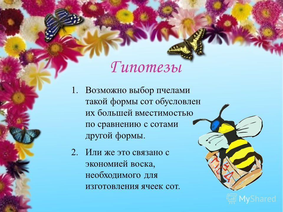 1.Возможно выбор пчелами такой формы сот обусловлен их большей вместимостью по сравнению с сотами другой формы. 2. Или же это связано с экономией воска, необходимого для изготовления ячеек сот. Гипотезы