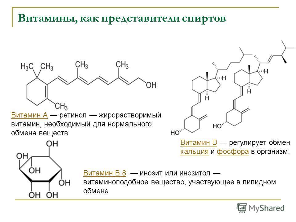 Витамины, как представители спиртов Витамин АВитамин А ретинол жирорастворимый витамин, необходимый для нормального обмена веществ Витамин DВитамин D регулирует обмен кальция и фосфора в организм. кальцияфосфора Витамин B 8Витамин B 8 инозит или иноз