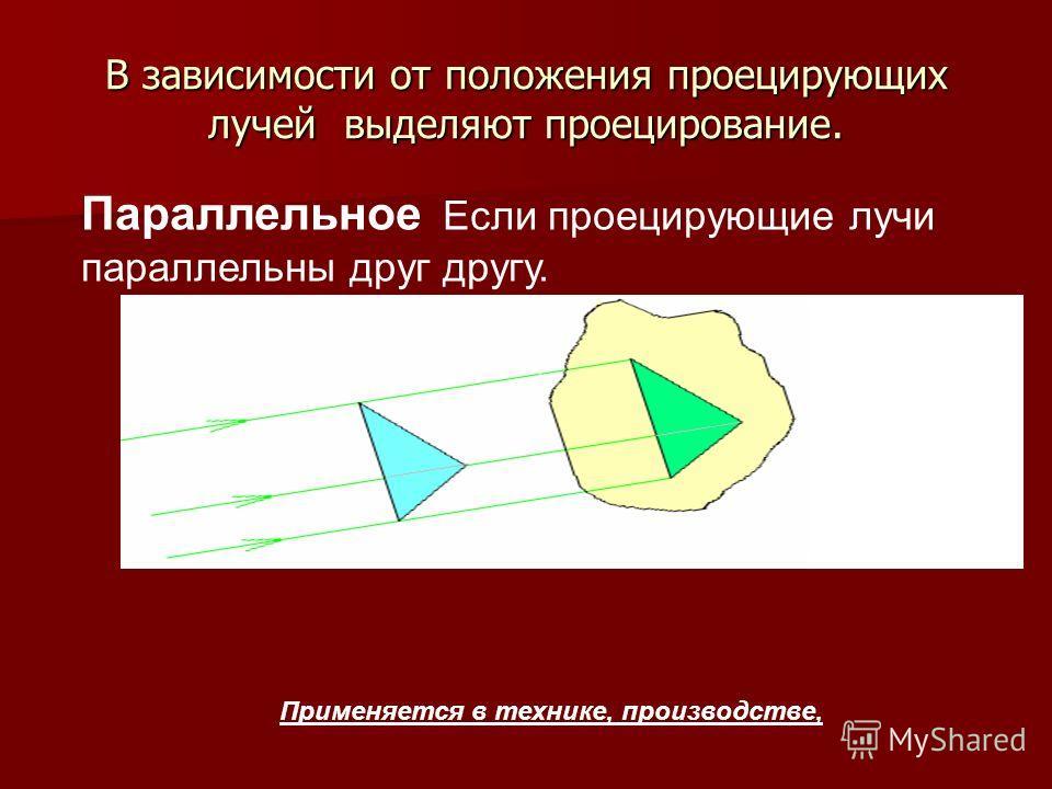 В зависимости от положения проецирующих лучей выделяют проецирование. Параллельное Если проецирующие лучи параллельны друг другу. Применяется в технике, производстве,
