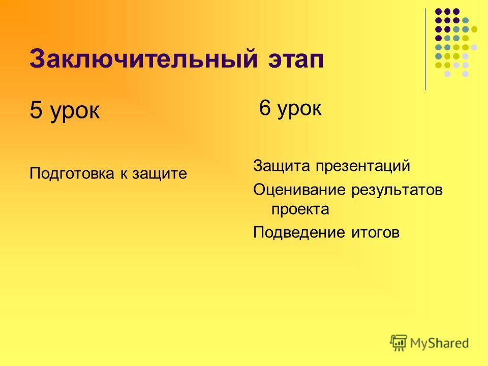 Заключительный этап 5 урок Подготовка к защите 6 урок Защита презентаций Оценивание результатов проекта Подведение итогов