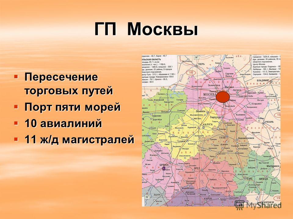 ГП Москвы Пересечение торговых путей Пересечение торговых путей Порт пяти морей Порт пяти морей 10 авиалиний 10 авиалиний 11 ж/д магистралей 11 ж/д магистралей