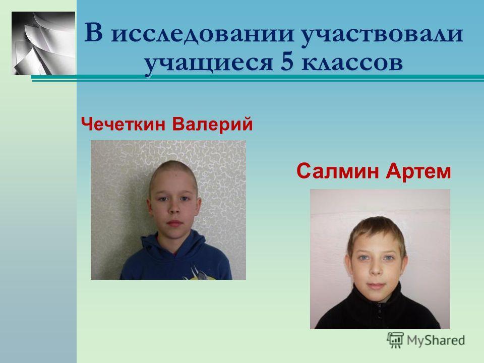 В исследовании участвовали учащиеся 5 классов Чечеткин Валерий Салмин Артем