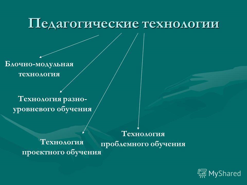 Педагогические технологии Блочно-модульная технология Технология разно- уровневого обучения Технология проектного обучения Технология проблемного обучения