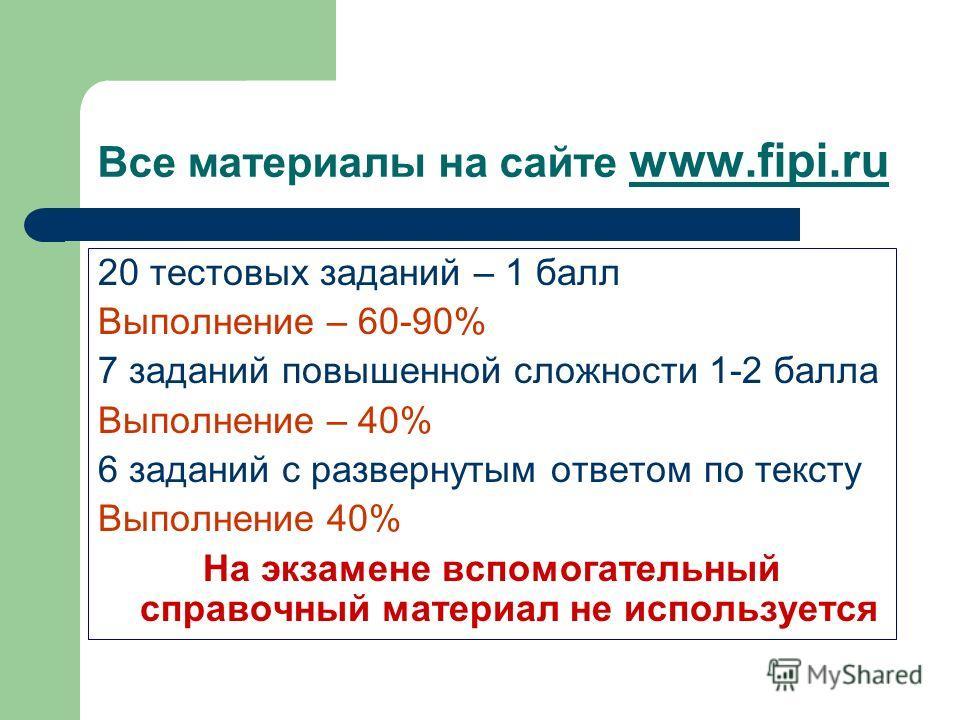 Все материалы на сайте www.fipi.ru 20 тестовых заданий – 1 балл Выполнение – 60-90% 7 заданий повышенной сложности 1-2 балла Выполнение – 40% 6 заданий с развернутым ответом по тексту Выполнение 40% На экзамене вспомогательный справочный материал не
