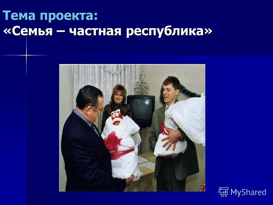 Тема проекта: «Семья – частная республика»