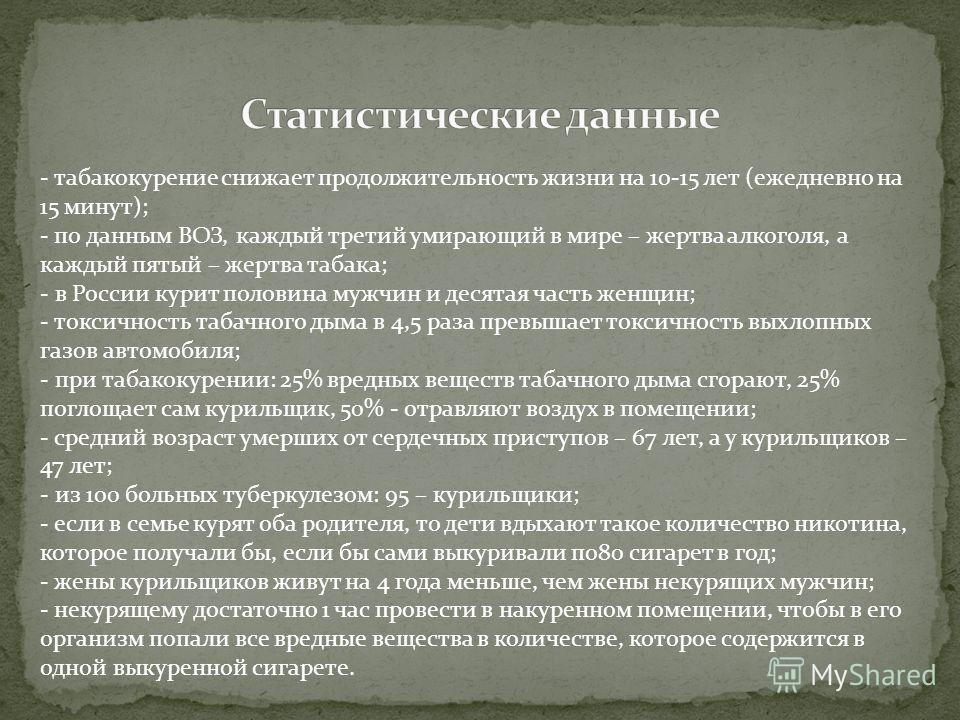 - табакокурение снижает продолжительность жизни на 10-15 лет (ежедневно на 15 минут); - по данным ВОЗ, каждый третий умирающий в мире – жертва алкоголя, а каждый пятый – жертва табака; - в России курит половина мужчин и десятая часть женщин; - токсич