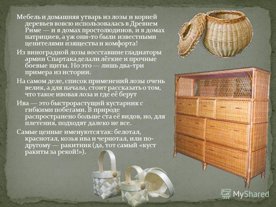 Мебель и домашняя утварь из лозы и корней деревьев вовсю использовалась в Древнем Риме и в домах простолюдинов, и в домах патрициев, а уж они-то были известными ценителями изящества и комфорта! Из виноградной лозы восставшие гладиаторы армии Спартака