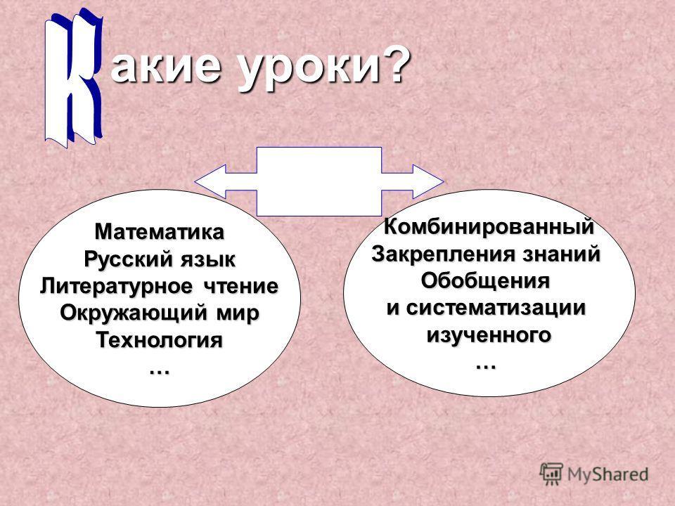 а кие уроки? Математика Русский язык Литературное чтение Окружающий мир Технология…Комбинированный Закрепления знаний Обобщения и систематизации изученного…