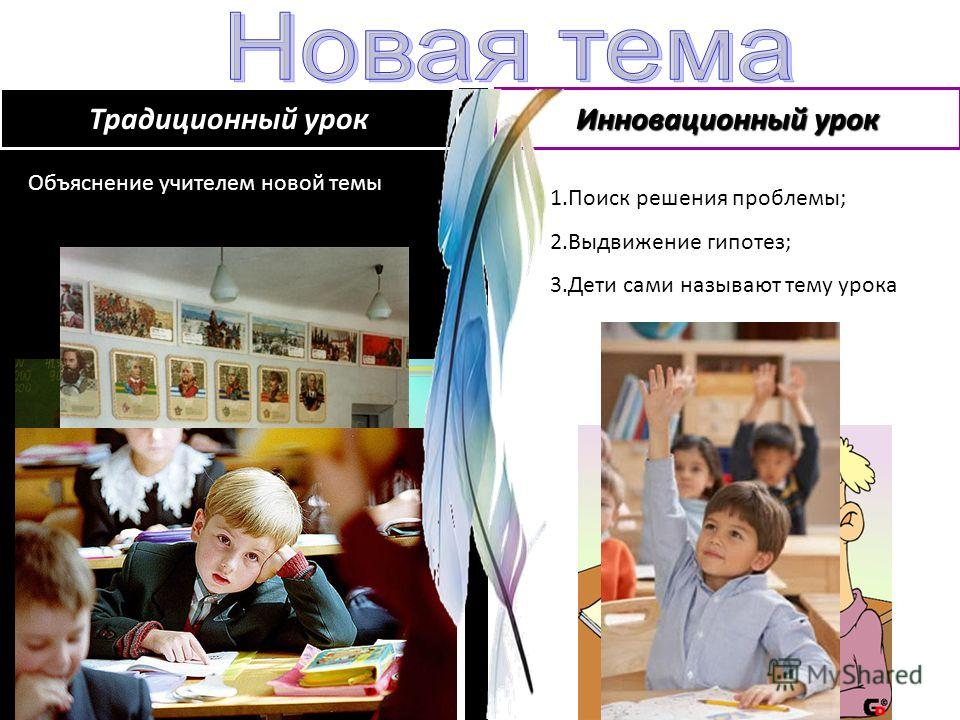Объяснение учителем новой темы 1.Поиск решения проблемы; 2.Выдвижение гипотез; 3.Дети сами называют тему урока Традиционный урок Инновационный урок