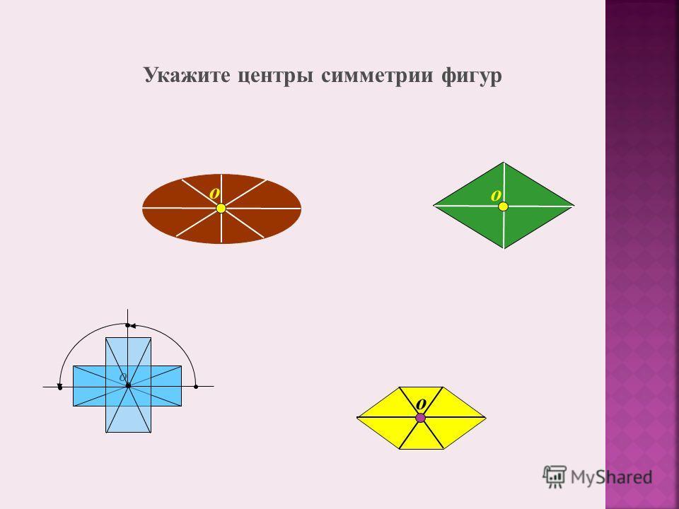 О о о о Укажите центры симметрии фигур