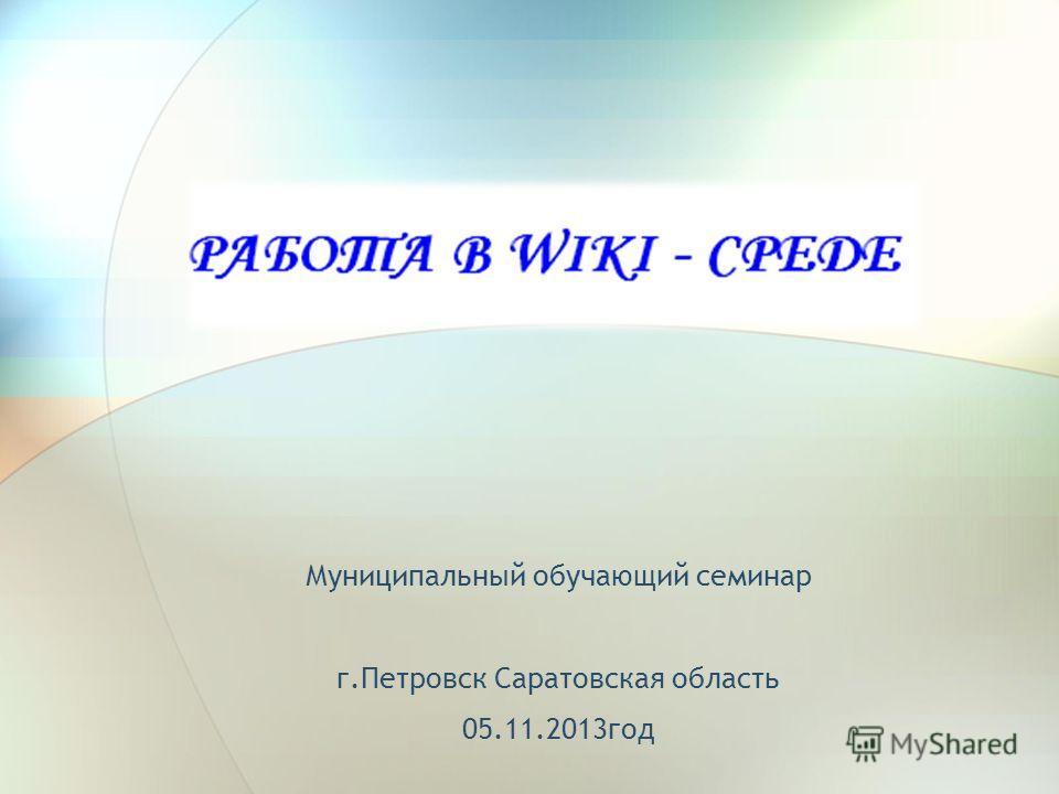 Муниципальный обучающий семинар г.Петровск Саратовская область 05.11.2013год