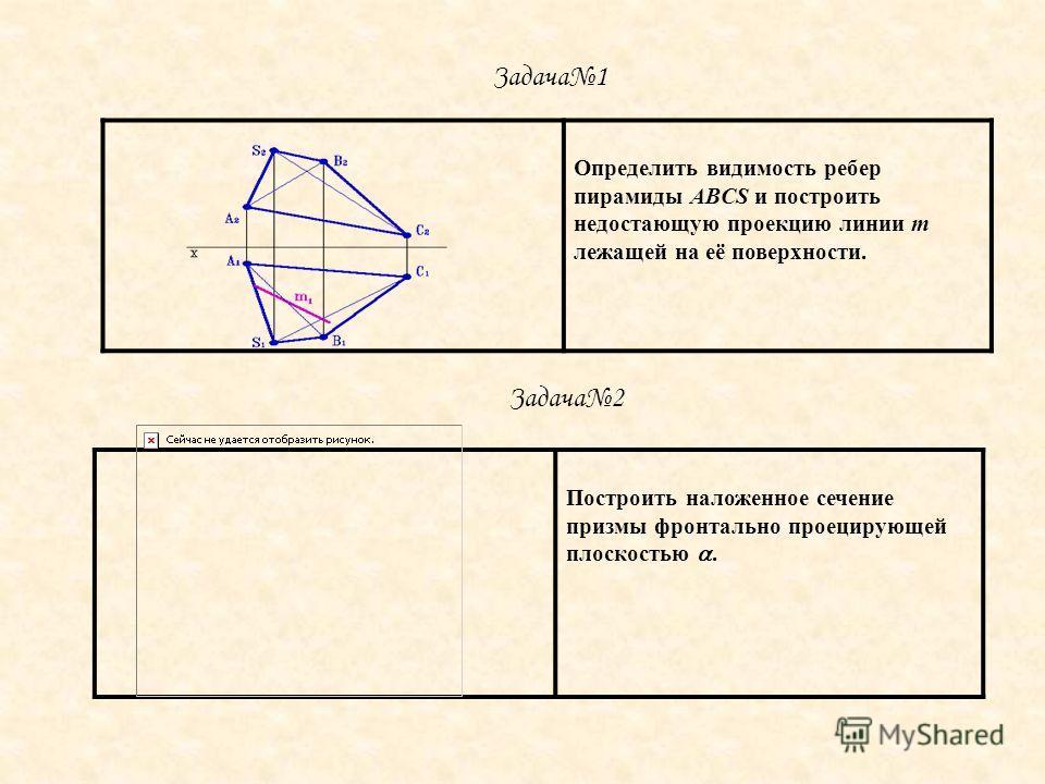 Определить видимость ребер пирамиды ABCS и построить недостающую проекцию линии m лежащей на её поверхности. Построить наложенное сечение призмы фронтально проецирующей плоскостью. Задача1 Задача2