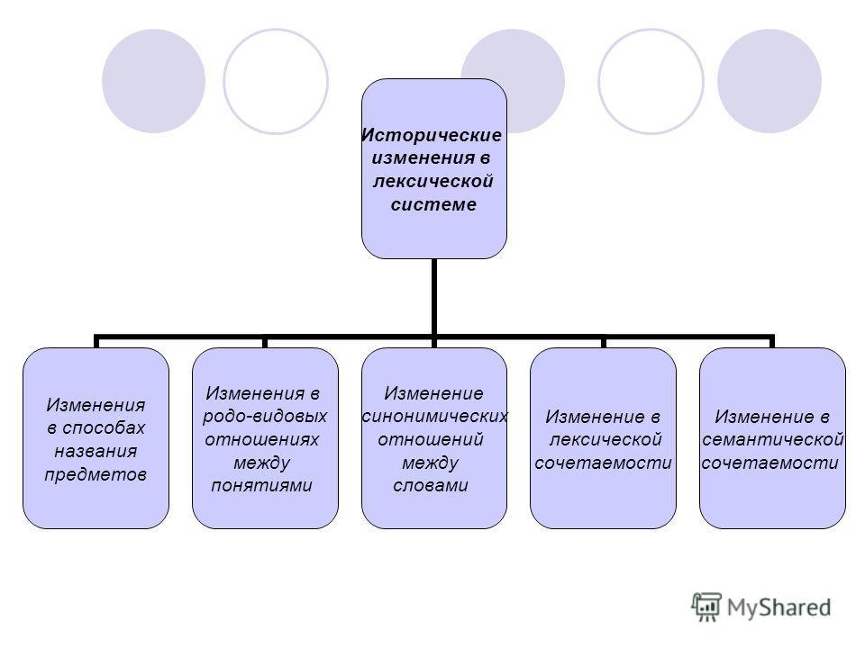 Исторические изменения в лексической системе Изменения в способах названия предметов Изменения в родо-видовых отношениях между понятиями Изменение синонимических отношений между словами Изменение в лексической сочетаемости Изменение в семантической с
