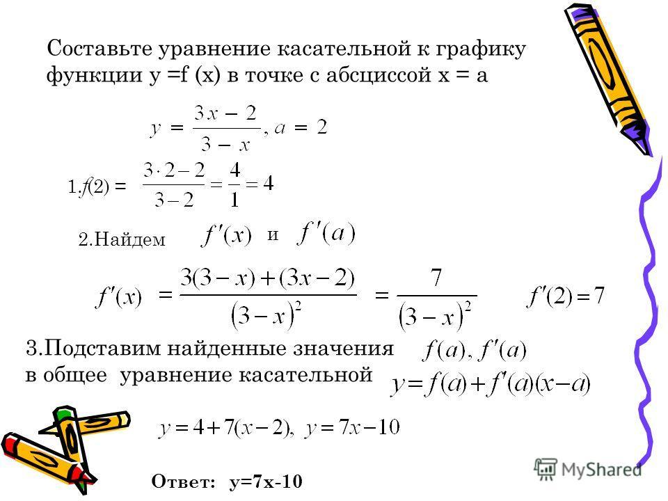 Составьте уравнение касательной к графику функции у =f (x) в точке с абсциссой х = а 1. (2) = 2.Найдем и 3.Подставим найденные значения в общее уравнение касательной Ответ: у=7х-10