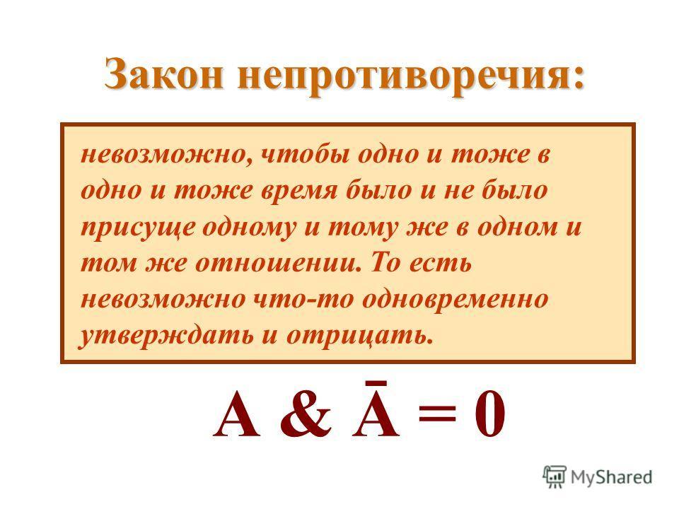 Закон непротиворечия: невозможно, чтобы одно и тоже в одно и тоже время было и не было присуще одному и тому же в одном и том же отношении. То есть невозможно что-то одновременно утверждать и отрицать. А & Ā = 0