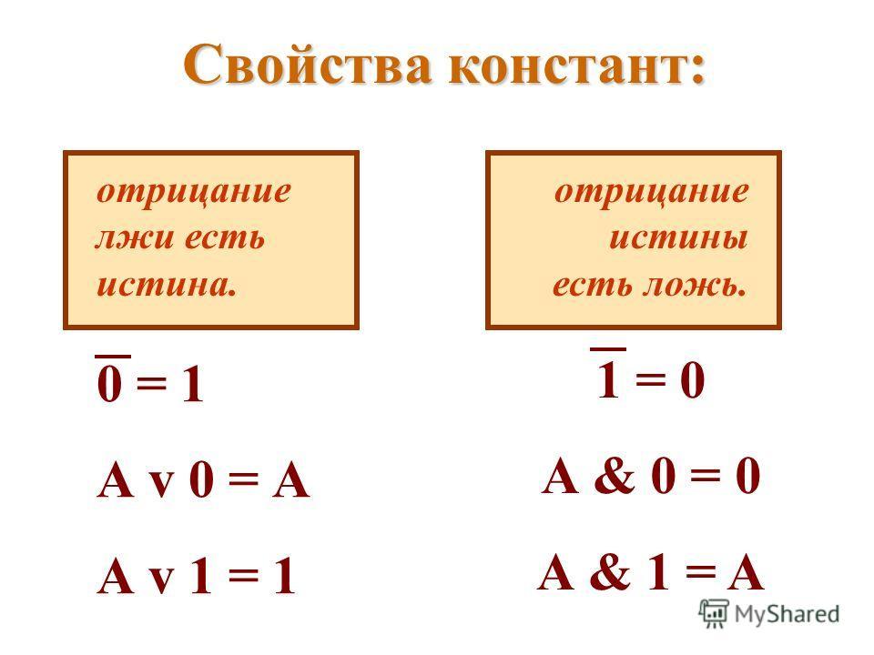 Свойства констант: отрицание лжи есть истина. 0 = 1 А v 0 = А А v 1 = 1 отрицание истины есть ложь. 1 = 0 А & 0 = 0 А & 1 = A