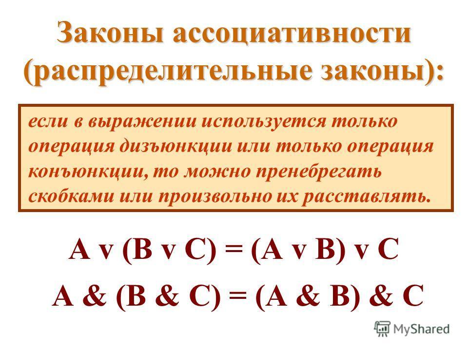 Законы ассоциативности (распределительные законы): если в выражении используется только операция дизъюнкции или только операция конъюнкции, то можно пренебрегать скобками или произвольно их расставлять. А v (В v C) = (А v В) v C А & (В & C) = (А & В)