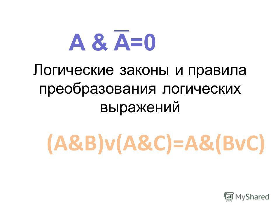 Логические законы и правила преобразования логических выражений A & A=0 (A&B)v(A&C)=A&(BvC)