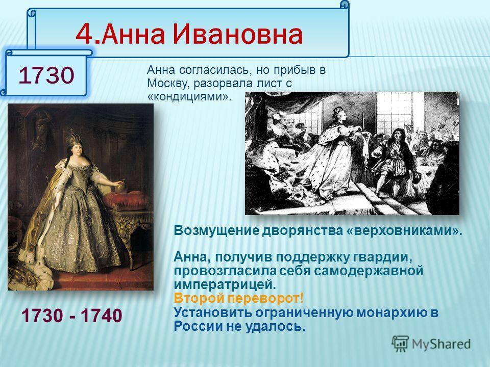 4.Анна Ивановна 1730 1730 - 1740 Анна согласилась, но прибыв в Москву, разорвала лист с «кондициями». Возмущение дворянства «верховниками». Анна, получив поддержку гвардии, провозгласила себя самодержавной императрицей. Второй переворот! Установить о