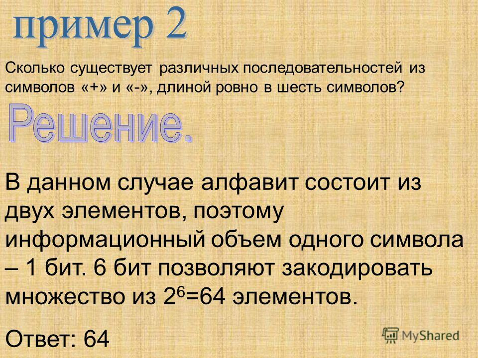 Сколько существует различных последовательностей из символов «+» и «-», длиной ровно в шесть символов? В данном случае алфавит состоит из двух элементов, поэтому информационный объем одного символа – 1 бит. 6 бит позволяют закодировать множество из 2