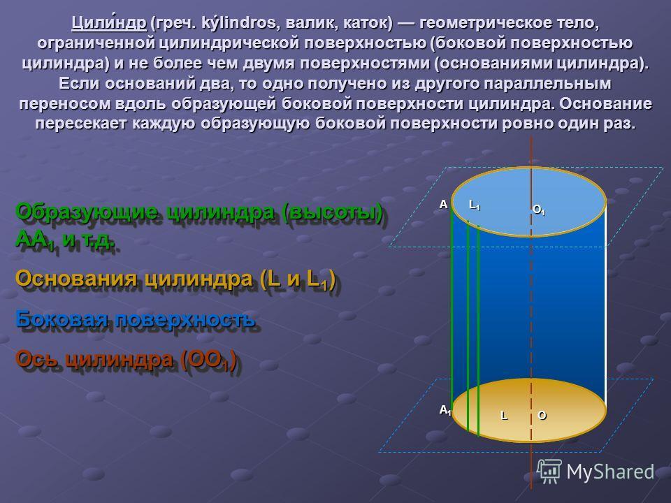 Цили́ндр (греч. kýlindros, валик, каток) геометрическое тело, ограниченной цилиндрической поверхностью (боковой поверхностью цилиндра) и не более чем двумя поверхностями (основаниями цилиндра). Если оснований два, то одно получено из другого параллел