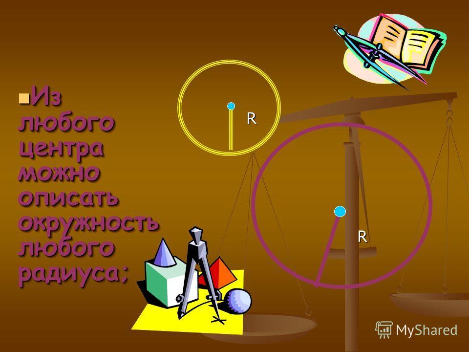 Из любого центра можно описать окружность любого радиуса; Из любого центра можно описать окружность любого радиуса; R R