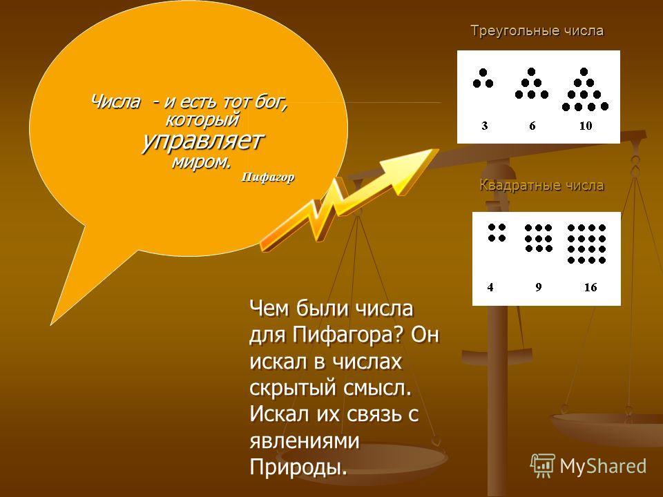 Треугольные числа Числа - и есть тот бог, который управляет миром. Пифагор Квадратные числа Чем были числа для Пифагора? Он искал в числах скрытый смысл. Искал их связь с явлениями Природы. Чем были числа для Пифагора? Он искал в числах скрытый смысл