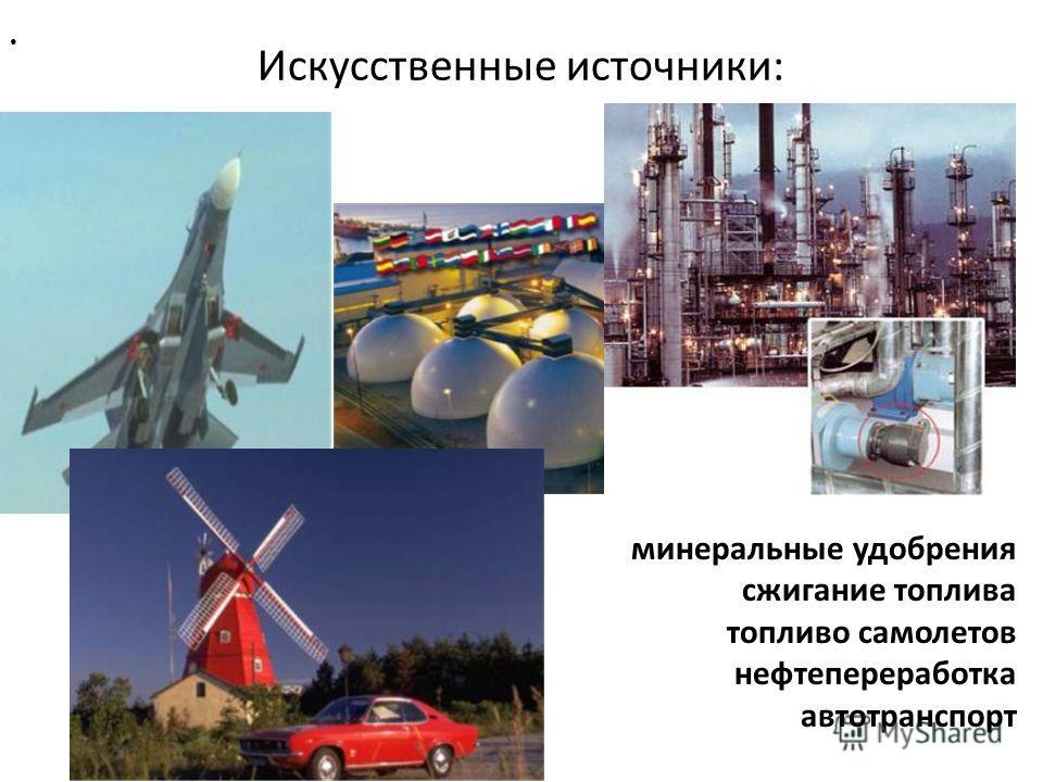 Искусственные источники: минеральные удобрения сжигание топлива топливо самолетов нефтепереработка автотранспорт