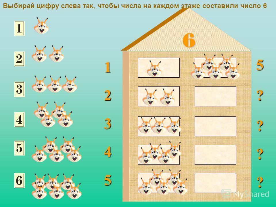 ? ? ? ? ? 6 1 2 3 4 5 Выбирай цифру слева так, чтобы числа на каждом этаже составили число 6