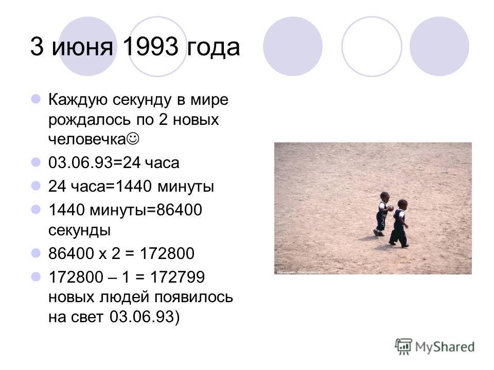 3 июня 1993 года Каждую секунду в мире рождалось по 2 новых человечка 03.06.93=24 часа 24 часа=1440 минуты 1440 минуты=86400 секунды 86400 х 2 = 172800 172800 – 1 = 172799 новых людей появилось на свет 03.06.93)