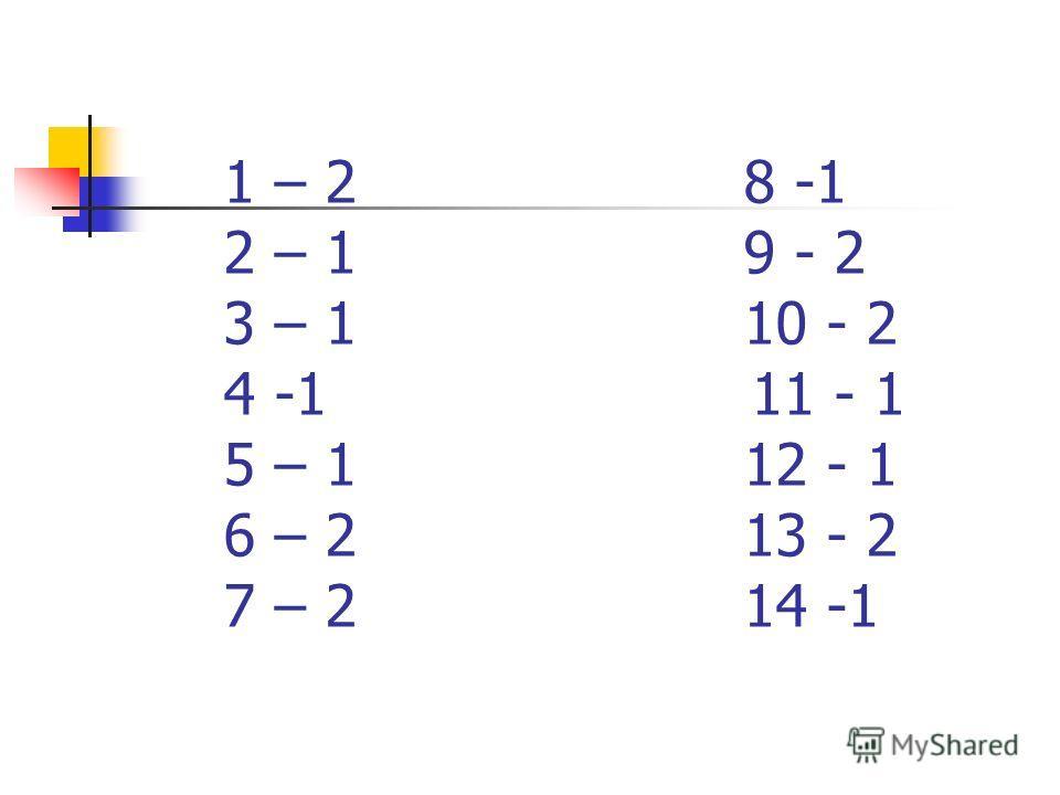 1 – 2 8 -1 2 – 1 9 - 2 3 – 1 10 - 2 4 -1 11 - 1 5 – 1 12 - 1 6 – 2 13 - 2 7 – 2 14 -1