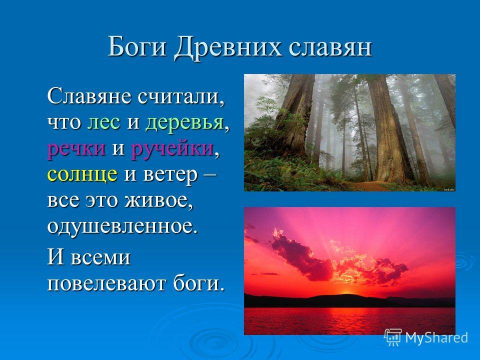 Боги Древних славян Славяне считали, что лес и деревья, речки и ручейки, солнце и ветер – все это живое, одушевленное. И всеми повелевают боги.