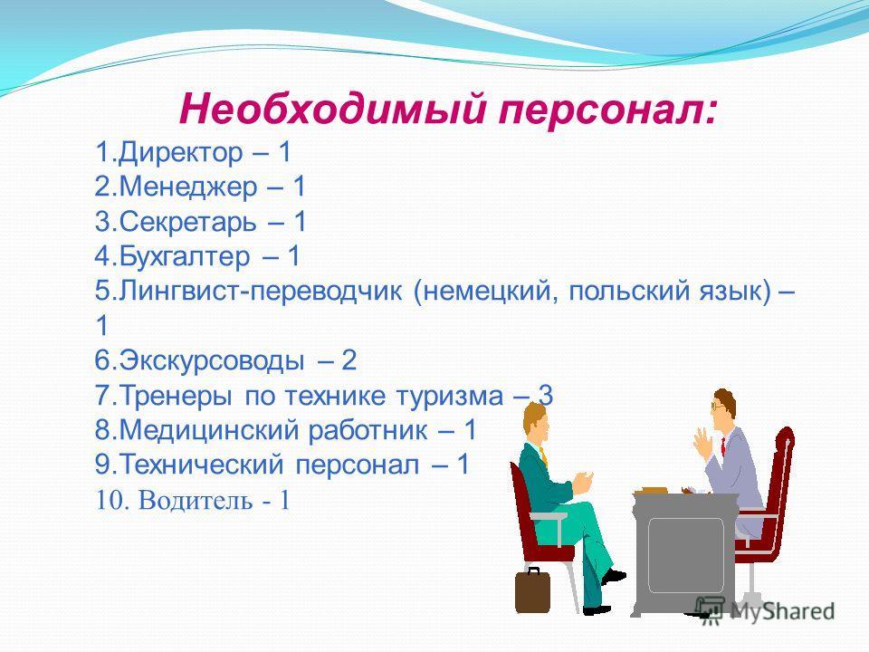 Необходимый персонал: 1.Директор – 1 2.Менеджер – 1 3.Секретарь – 1 4.Бухгалтер – 1 5.Лингвист-переводчик (немецкий, польский язык) – 1 6.Экскурсоводы – 2 7.Тренеры по технике туризма – 3 8.Медицинский работник – 1 9.Технический персонал – 1 10. Води