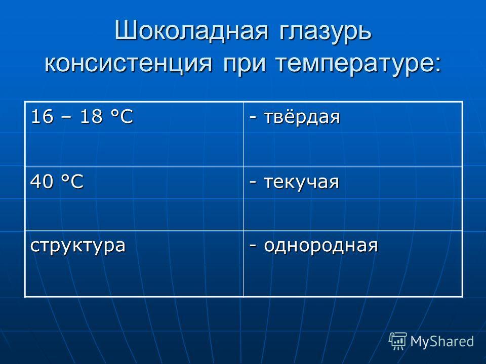 Шоколадная глазурь консистенция при температуре: 16 – 18 °С - твёрдая 40 °С - текучая структура - однородная