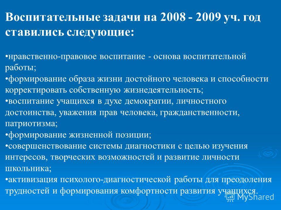 Воспитательные задачи на 2008 - 2009 уч. год ставились следующие: нравственно-правовое воспитание - основа воспитательной работы; формирование образа жизни достойного человека и способности корректировать собственную жизнедеятельность; воспитание уча