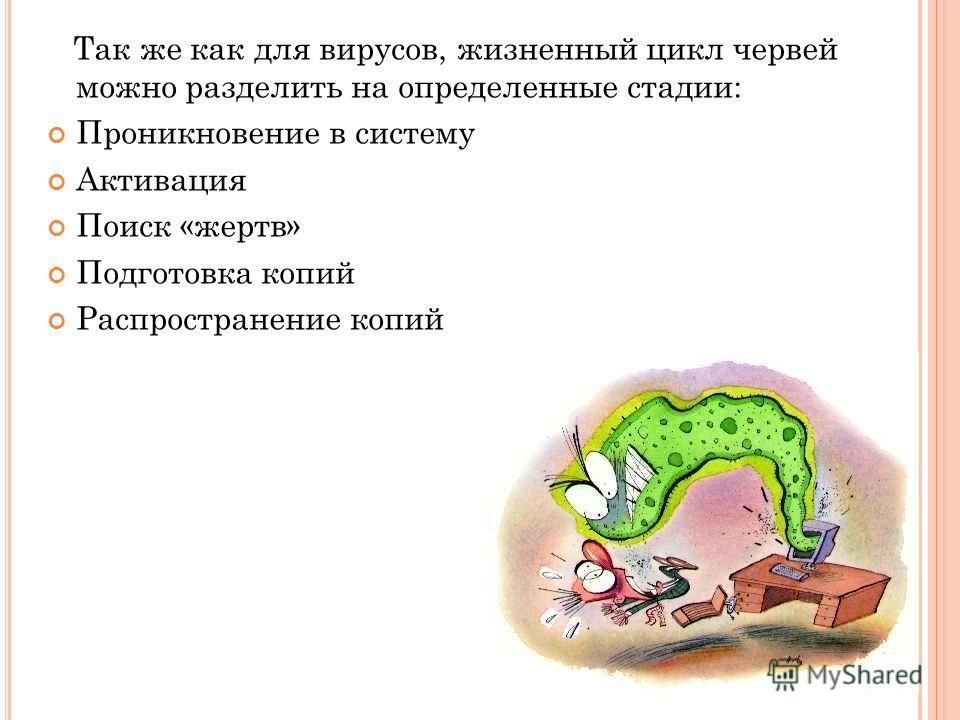 Так же как для вирусов, жизненный цикл червей можно разделить на определенные стадии: Проникновение в систему Активация Поиск «жертв» Подготовка копий Распространение копий