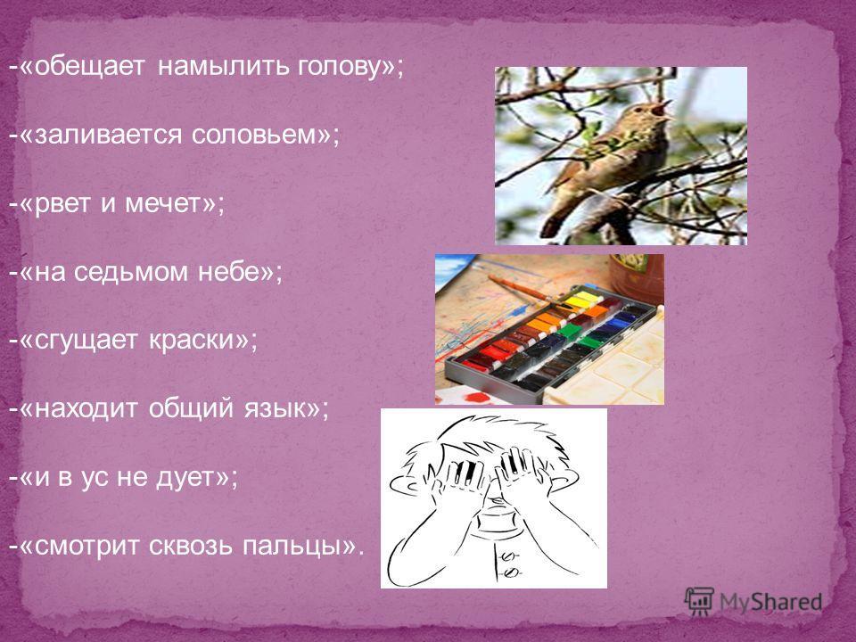 -«обещает намылить голову»; -«заливается соловьем»; -«рвет и мечет»; -«на седьмом небе»; -«сгущает краски»; -«находит общий язык»; -«и в ус не дует»; -«смотрит сквозь пальцы».