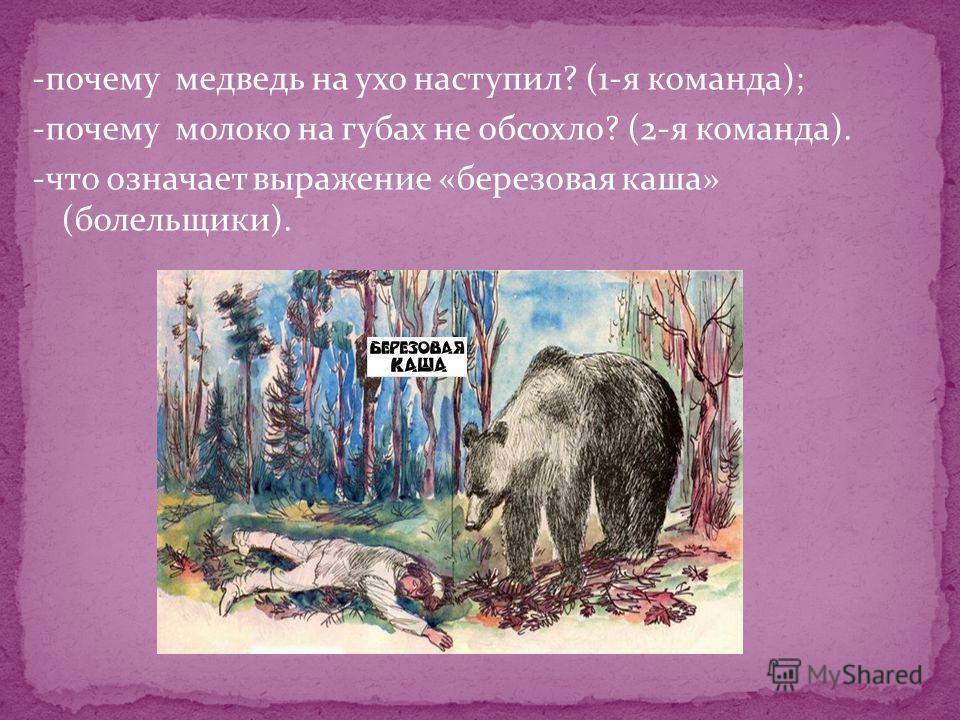 -почему медведь на ухо наступил? (1-я команда); -почему молоко на губах не обсохло? (2-я команда). -что означает выражение «березовая каша» (болельщики).