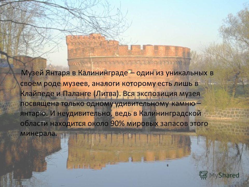 Музей Янтаря в Калининграде – один из уникальных в своем роде музеев, аналоги которому есть лишь в Клайпеде и Паланге (Литва). Вся экспозиция музея посвящена только одному удивительному камню – янтарю. И неудивительно, ведь в Калининградской области