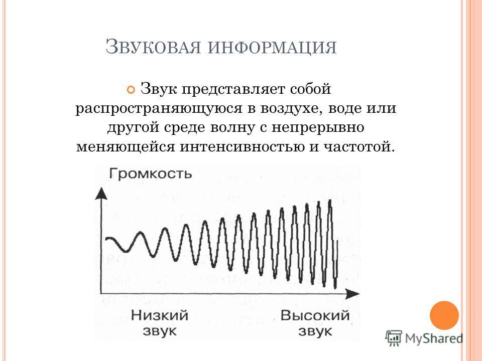 З ВУКОВАЯ ИНФОРМАЦИЯ Звук представляет собой распространяющуюся в воздухе, воде или другой среде волну с непрерывно меняющейся интенсивностью и частотой.