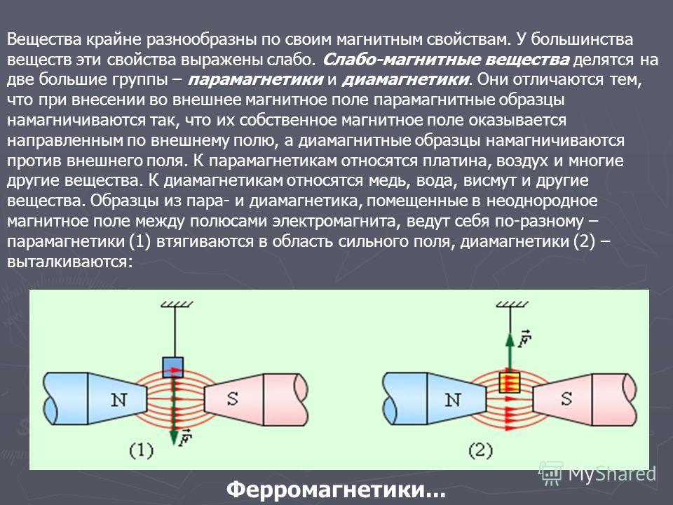 Вещества крайне разнообразны по своим магнитным свойствам. У большинства веществ эти свойства выражены слабо. Слабо-магнитные вещества делятся на две большие группы – парамагнетики и диамагнетики. Они отличаются тем, что при внесении во внешнее магни