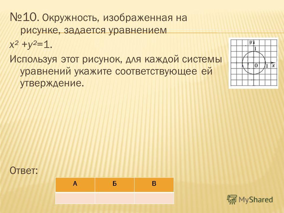 10. Окружность, изображенная на рисунке, задается уравнением x² +y²=1. Используя этот рисунок, для каждой системы уравнений укажите соответствующее ей утверждение. Ответ: АБВ