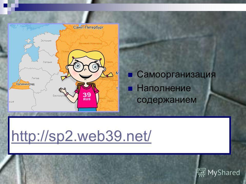 Самоорганизация Наполнение содержанием http://sp2.web39.net/